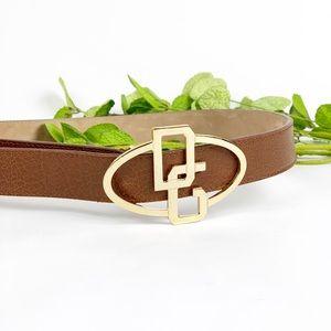 Dolce & Gabbana Men Brown Leather Belt Gold Logo